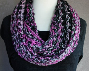 INFINITY SCARF, Crochet Infinity Scarf, Scarf, Neckwarmer, Cowl, Crochet Scarf, Circle Scarf, Pink Gray Black