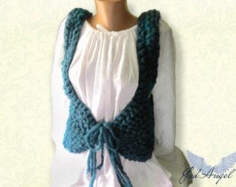 """Vest,Women Vest ,Large Knit Vest,Crochet Vest, Knitted low cut vest """"Anna"""""""