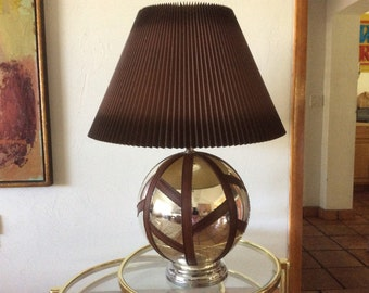 Mid Century Modern Mercury Glass and Rosewood Lamp