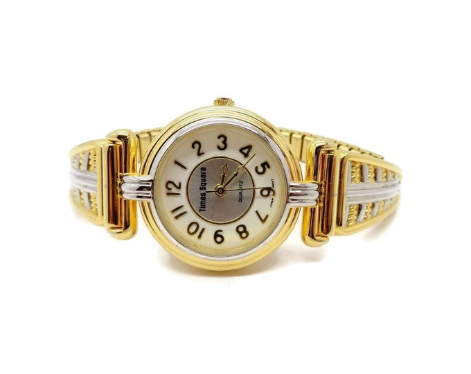 Vintage Times Square Watch, Ladies Watch, Goldtone & Silvertone Stretch Band Watch