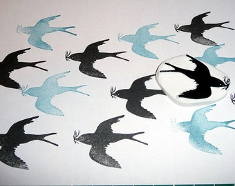 Swallow Bird Design, Rubber Stamp, Hand Carved, Hand Made Birds Stamp, Scrapbooking, Card Making, Gift Wrapping