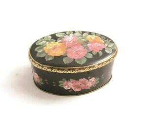 Meister Oval Tin Box - Striking Rose Design - Brazil