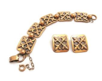 Vintage Mid Century Modern Copper Bracelet and Earring Set