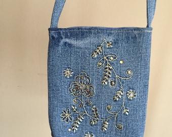 Little Girl shoulder bag recycled from denim jeans