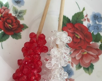 Set of 2 Faux Rock Candy Ornaments
