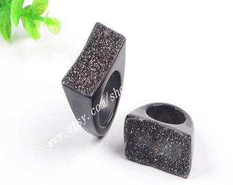 Wholesale Solid Black Druzy Ring Natural Onyx Agate Druzy Geode Ring Cut From A Piece Of Agate Druzy Ring Drusy Gemstone Agate Jewelry G0568