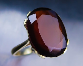 14.85cts Natural Dark Cinnamon Orange Hessonite Garnet oval cut 15.80x12.30mm 9ct 375 yellow gold engagement ring all sizes