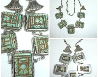 Art Deco Egyptian Revival Silver Necklace Pendant
