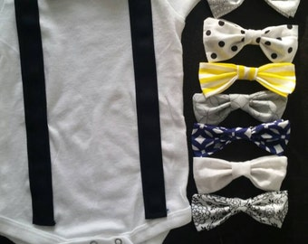 White Onsie with Black Suspenders with matching Bow Tie