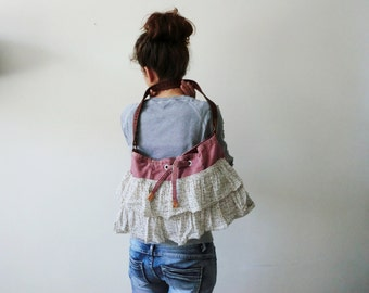Cowboybag, leather bag, silk tote,recycled materials, Italian leather,Italian-Dutch eco design, gift for her. JJePa