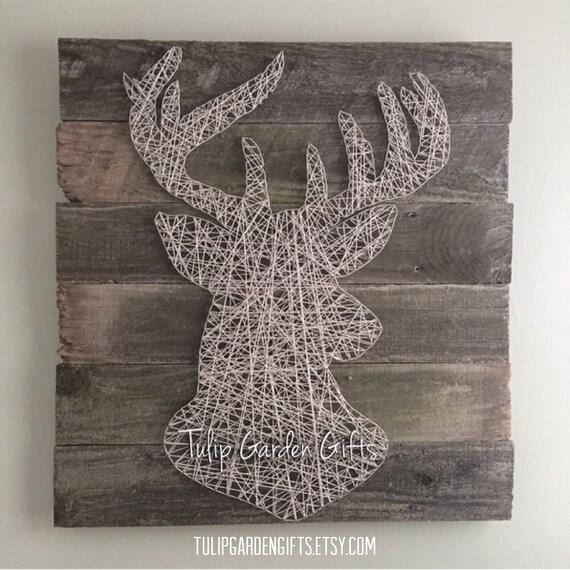 buck deer string art wall hanging pallet style on aged. Black Bedroom Furniture Sets. Home Design Ideas