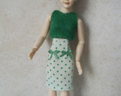 112 scale womens green textile vest with white green spots pencil skirt for Heidi doll by Jings Creations