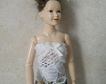 1:12 scale women's white lace top with blue checked shorts for Heidi doll by Jing's Creations