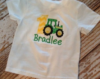 Tractor appliqued birthday shirt