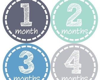 Monthly Baby Milestone Stickers Baby Boy Baby Shower Gift One-Piece Baby Stickers Monthly Baby Stickers Baby Month Stickers 115