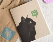 Black Kitty Says Hi // Blank Note Card // 3 Color Options // Cat Stationery // Black Cat Illustration // Card for Cat Lovers