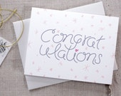 Modern Wedding Congratulations Card / Hand Lettered Congrats Card / Minimalist Wedding Card