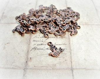 10 Antique Copper Bird Charms