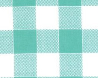 Blue Moon (Picnic Plaid) in Blue (Laminate Fabric) by Mary Jane from the Glamping collection for Moda
