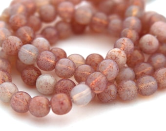 Picasso Pink on White Opal 6mm Round Czech Glass Beads 50pc #S11