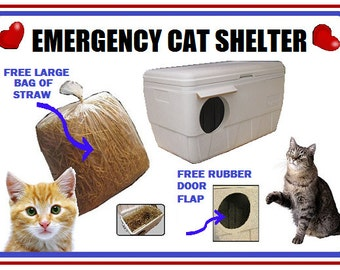 ARK Workshop Insulated Outdoor Cat House Emergency Shelter: Quick Ship. Free BIG BAG Straw and Free Rubber-Cushioned Door Flap