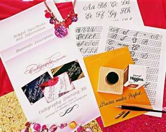 Calligraphy Learning Kit - Learn Calligraphy, Calligraphy Kit, Calligraphy Worksheets, Calligraphy Supplies