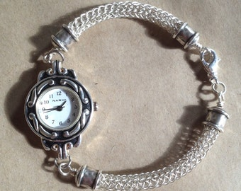Silver plated viking knit watch with endcaps  20.5cm