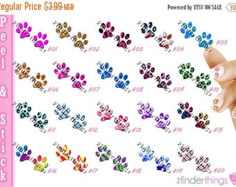 ON SALE Nail Art Decals Stickers Designer Paw Prints Animals Cats Dogs Paws PAW901
