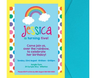 Rainbow Party Invitation - Digital