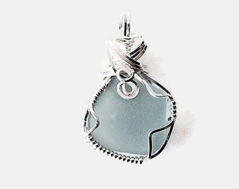 Blue Beach Glass Necklace, Wire Wrapped Sterling Silver Jewelry, English Sea Glass Pendant, Mermaids Tears