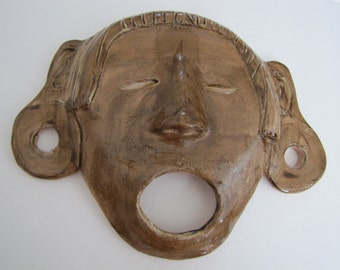 Aztec Mask Xipe Totec stoneware Hand Crafted NC Artist Helen Seebold