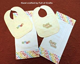 Bib and Burp Pad Set/Handmade Embroidered Bib-Matching Burp Pad/Baby Shower Gift/Diaper Burp Pad/Nursery Accessory/Infant Gift/New Mom Gift