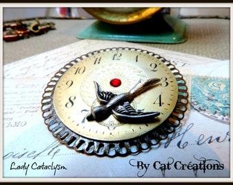 SOLD pin steampunk, dial brass art deco rare