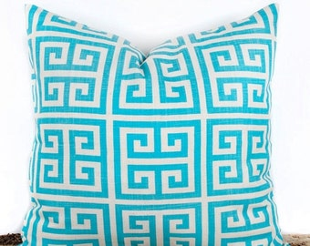 SALE ENDS SOON Designer Turquoise Pillow Cover, Geometric Pillow Case, Home Design Ideas, 18 x 18