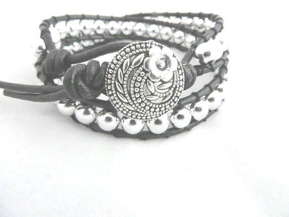 Wrap Bracelet Black Silver Boho Chic Double Wrap Bracelet Leather Bracelet Ladder Bracelet Gift Idea for Her Trendy Hippie Bohemian Jewelry