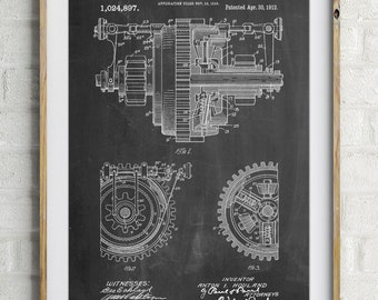 Mechanical Gearing 1912 Patent Poster, Industrial Art, Mechanical Engineer, Engineer Gift, Gears, PP0953