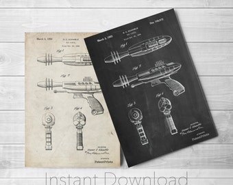 Laser Gun Printables, Retro Toys, Outer Space Nursery, Space Toy, Ray Gun, PP0498
