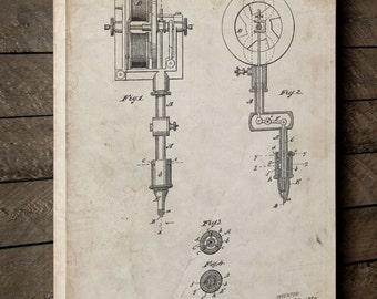 First Tattoo Machine Patent Canvas Art, Tattoo Wall Art, Vintage Tattoo, Unique Gifts, Tattoo Parlor Prints, Canvas Wall Decor, PP0814