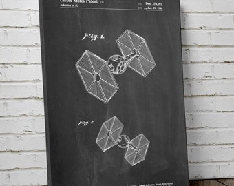 Star Wars TIE Fighter Patent Canvas Art, Star Wars Canvas Art, Movie Print, Starwars Art, Star Wars Ships, Canvas Wall Decor, PP0211