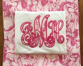 Monogrammed Pink Horse Pajama Sets for Girls