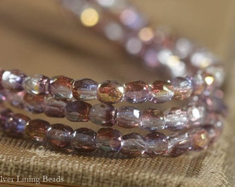 Sparkling Wine Bits (50) - Firepolished Czech Glass Bead - 3mm - Faceted Round