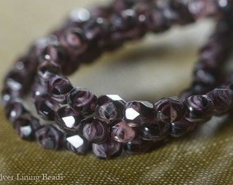 Midnight Plum (50) - Firepolished Czech Glass Bead - 4mm - Faceted Round