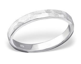 Hammered Textured Band Ring - Size 6-7 - 925 Sterling Silver - RG8623
