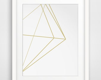 Gold Polygon, Gold Scandinavian Posters, Gold Geometric Decor, Printable Gold Art, Geometrical Art, Gold Wall Decor, Gold Wall Prints