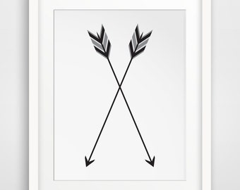 Arrow Print, Two Arrows, Crossed Arrow Wall Art, Two Arrows Wall Print, Printable Black and White Arrow Artwork, Arrow Feather Print