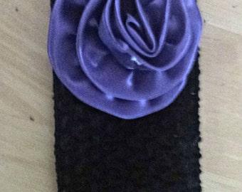 Black headband,purple flower, girly,