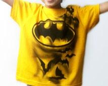 BATMAN T-Shirt | Bat T-SHIRT| Batman Costume | Hero T-shirt | Hand Painted, Airbrushed | Custom NAMED | best gift for boys & girls | yellow
