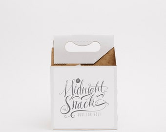 Wedding Favor Boxes (10), Midnight Snack Carriers with Labels, White Favor Boxes, Wedding Guest Gifts, Drink Carriers
