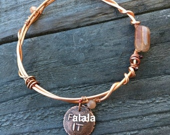 Recycled Copper Wire Bracelet with Peach Sunstone and F-ck It Charm