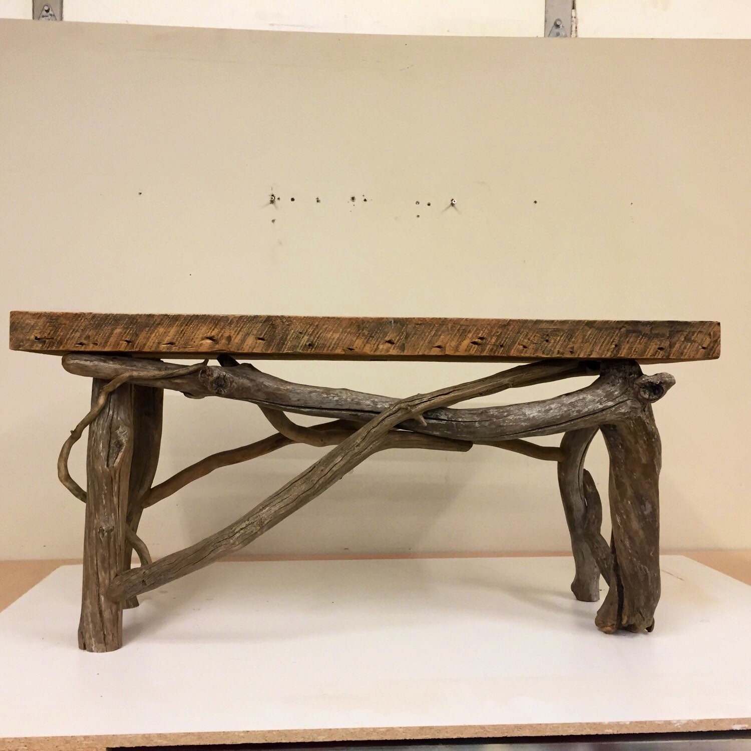 Driftwood Bench With Barn Wood Top